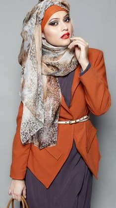 how to wear orange but not too much- wear it with grey. it works!