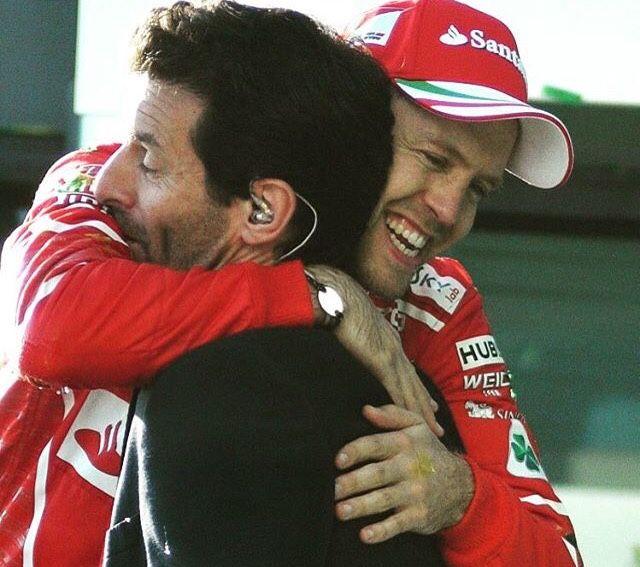 Aus 2017, Sebastian Vettel, Winner, Mark Webber interviewer on podium
