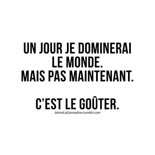 Un jour je dominerai le monde. Mais pas maintenant. C'est le goûter - #JaimeLaGrenadine #citation #punchline #gouter