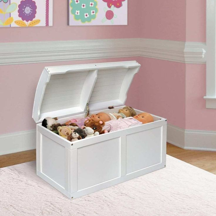 Kid's Room Barrel Top Toy Chest Furniture - White
