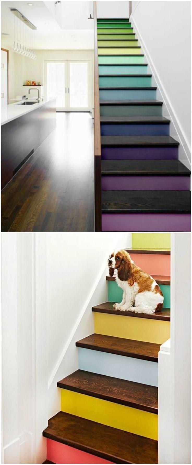 Las 25 mejores ideas sobre escaleras pintadas en pinterest for Escaleras de madera para pintor precios