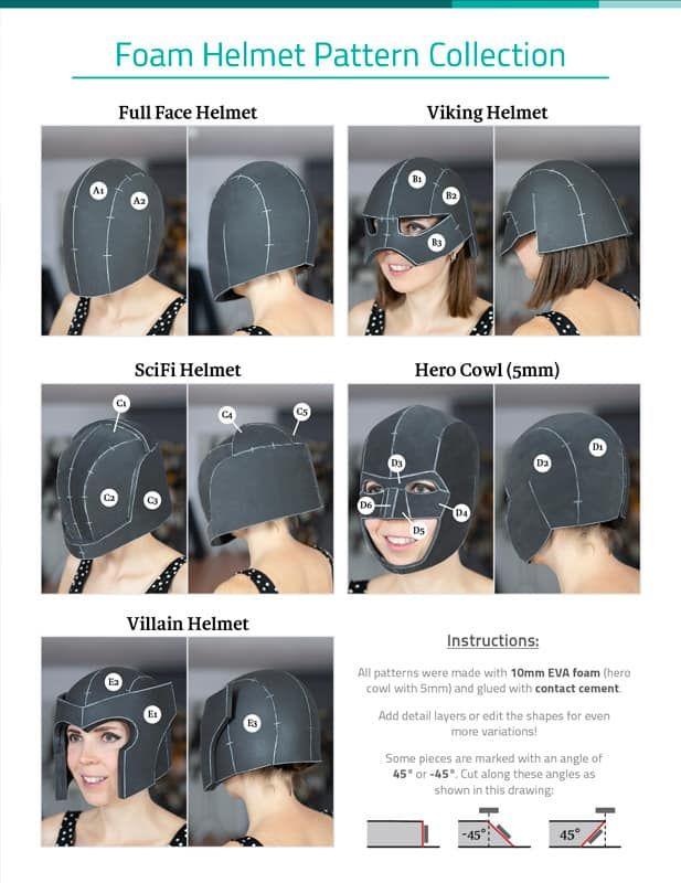 Foam Helmet Pattern Collection - DOWNLOAD|PDF | Cosplay