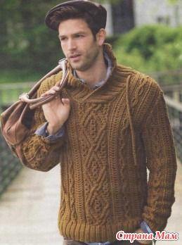 Размеры пуловера: 44/46 (50/52) 54/56  Источник http://vyazaniye.com/  Вам потребуется: