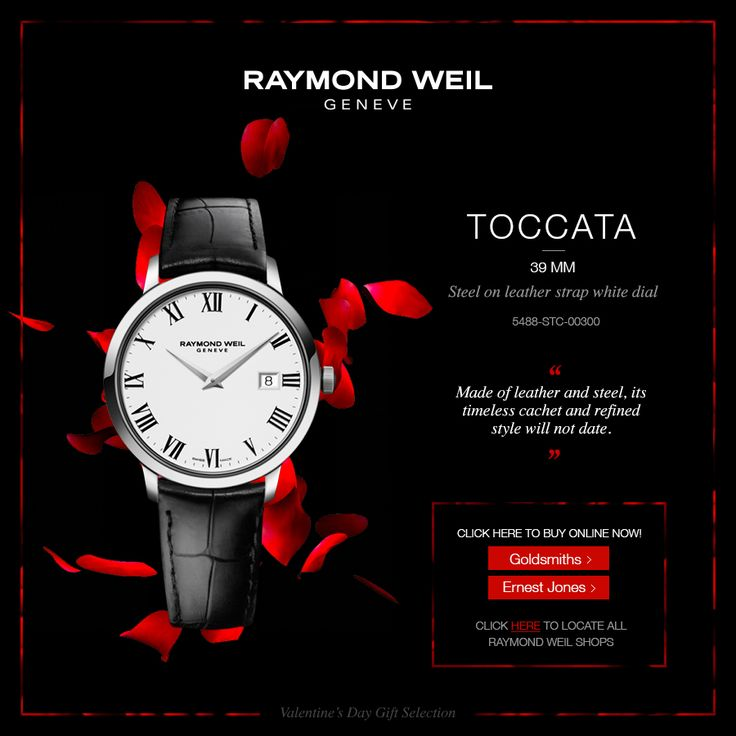Made of leather and steel, the 39mm Toccata timeless cachet and refined style will not date (ref: 5488-STC-00300)   Buy now online at our official UK retailers!  Goldsmiths: http://rwg.li/1CIIZM5 Ernest Jones: http://rwg.li/1yAWQoz