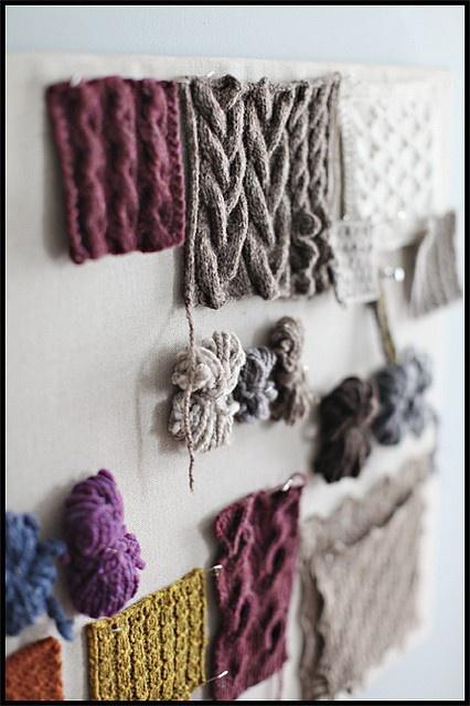 Swatching Great Idea For Wall Art Knitting Yarn