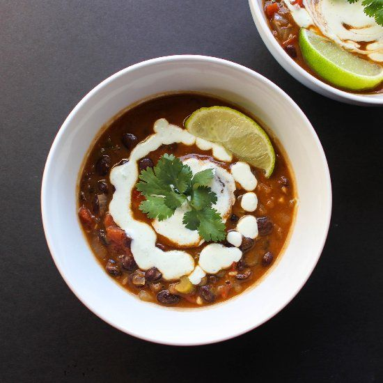 Spicy Black Bean Soup with Jalapeño Cream - hearty AND healthy!