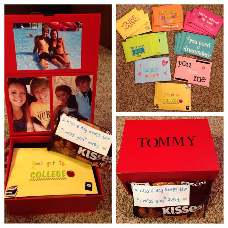 """College going away gift for my boyfriend. Open when letters and """"kisses"""""""