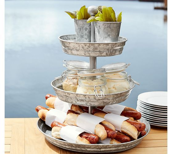 So many great uses for summer! Galvanized Metal Tiered Stand | Pottery Barn