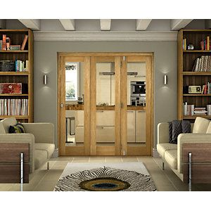 Wickes Belgrave Internal Folding Door Oak Veneer Glazed 1 Lite 2074 x 2090mm