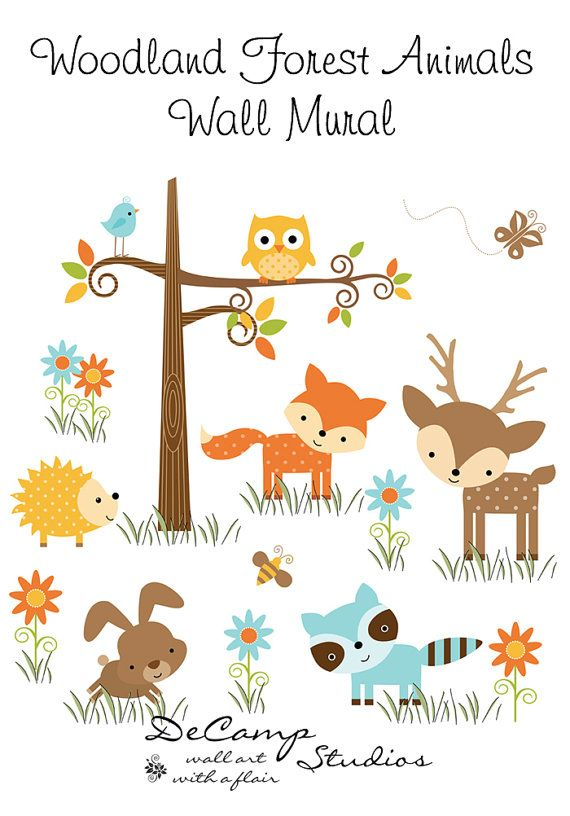 Woodland Forest Animals Wall Mural for baby girl boy nursery or children's room decor. Includes a wise old owl, sly fox, deer, hedgehog, bunny, bird, and raccoon with added butterfly, bee, and tree #decampstudios