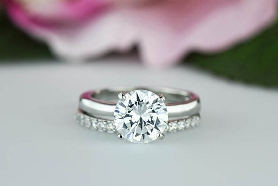 2.25 ctw Round Solitaire Ring, Half Eternity Ring, Wedding Set, Man Made Diamond Simulant, Engagement Ring, Bridal Set, Sterling Silver