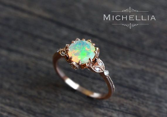 Vintage Opal Floral Engagement Ring with von MichelliaDesigns