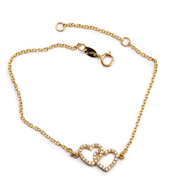 Βραχιόλι Al'oro  διπλή καρδιά  χρυσό  Κ14  ζιργκόν