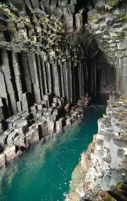 Fingals Cave is a sea cave on the uninhabited island of Staff, one of the Inner Hebrides islands which skirt the western coast of Scotland. The immense arch-roofed cave creates a melodic, haunting echo of waves within its cathedral-like atmosphere; something so impressive Romantic Poets John Keats, William Wordsworth, and Alfred, Lord Tennyson all made journeys here; as well as Her MajesticQueen Victoria. The caves Gaelic name is Uamh-Binn, meaning cave of melody.