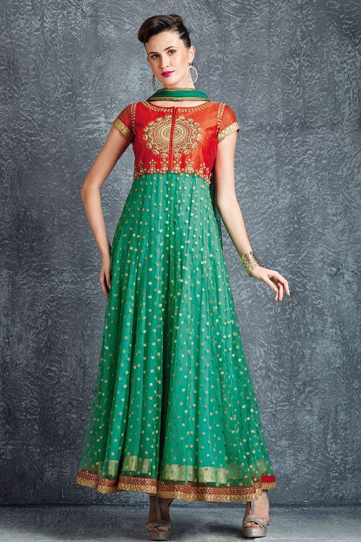 Show details for Trendy green anarkali with pearl embellishment