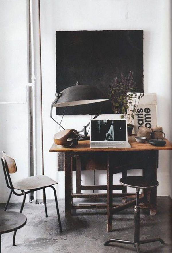 Vintage desk and black lamp.