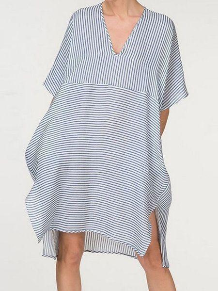 f2a9d68c0fb89 Buy Summer Dresses For Women at JustFashionNow. Online Shopping V neck  Women Striped Summer Dress Mini Dress