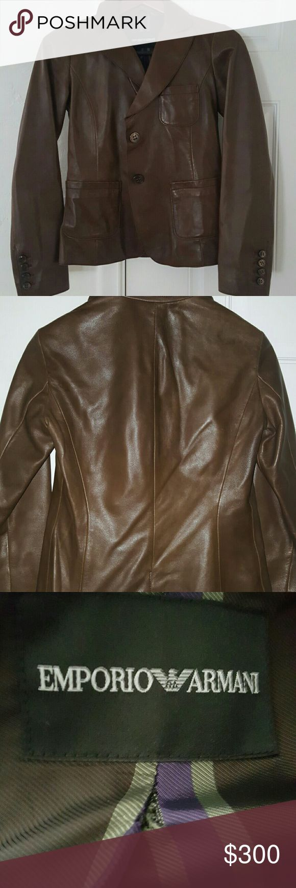 Emporio Armani Leather jacket Lambskin jacket - so soft. You are going to want to wear it everywhere. Classic fitted jacket. More pictures upon request. I noticed a small tear just below the tag (photo 3) I believe it is a 44 based on the tag, fits about a medium. Minimal signs of wear! Get it while it's still available! Emporio Armani Jackets & Coats