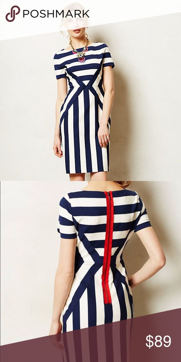 """NWOT Anthropologie Maeve Meeting Point Dress Style No. 4130293946646 ; Color Code:  Striped from all sides, Maeve's slim shift is event-ready with layered bracelets, pastel polish and statement-making heeled sandals.  By Maeve Back zip Rayon, nylon, spandex; polyester, spandex lining Dry clean Regular falls 37.5"""" from shoulder Petite falls 35.75"""" from shoulder Model is 5'9"""" Imported Anthropologie Dresses"""