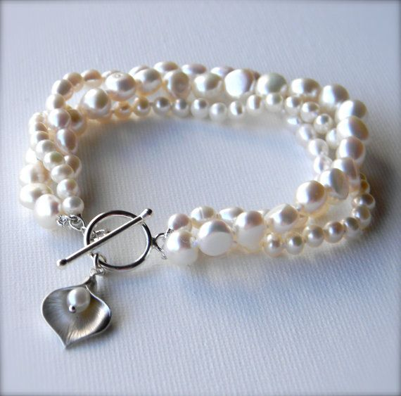Calla Lily Pearl Bracelet wedding bridesmaids by ERMoriginals, $32.00