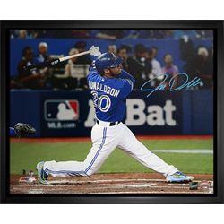 Donaldson,J Signed 16x20 Canvas Framed Blue Jays Blue Action-H