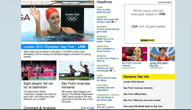 304: The screenshot shows one main picture as part of the slideshow and two smaller pictures relating to the olympics. It shows women athletes from the UK in mainly positive pictures. The picture regarding the badminton is more negative as it shows them contesting something.