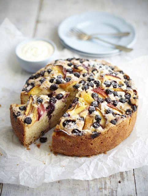 Nectarine & blueberry cake with vanilla cream (photography Stuart Ovenden)