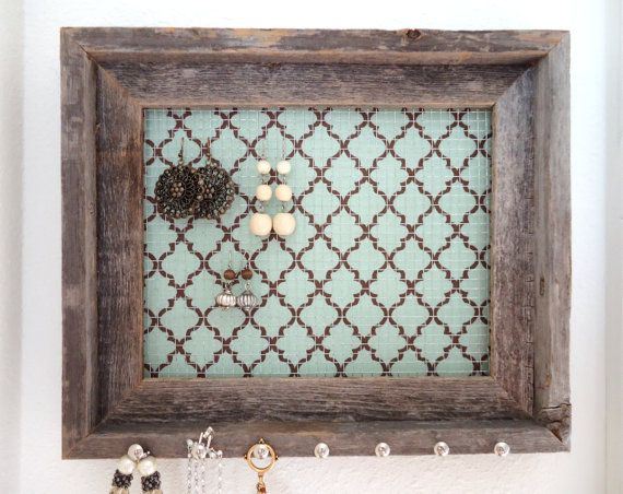 Jewelry Organizer Jewelry Holder Barnwood Frame Soft Blue and Chocolate Brown Nailhead Necklace Hooks