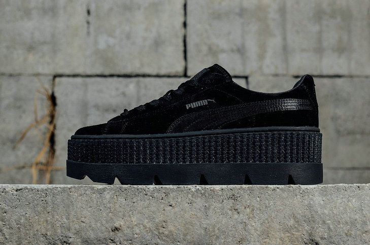 Official Puma X Fenty Cleated Creeper Suede Puma Black Womens Fashion Shoes  Sneakers 366268-04 fdc4a4c82