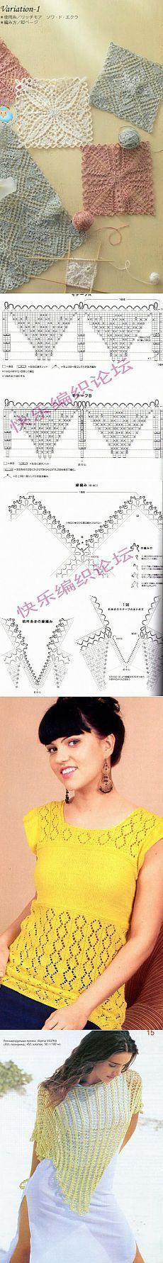 The scheme of knitting needles tunics