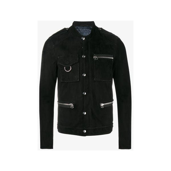 Lanvin press stud leather jacket ($2,915) ❤ liked on Polyvore featuring men's fashion, men's clothing, men's outerwear, men's jackets, mens suede jacket, mens suede leather jacket, mens studded leather jacket, mens suede moto jacket and mens suede biker jacket