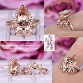 Pear Morganite Engagement Ring Sets Moissanite Tiara Wedding 14K Rose Gold 8x12mm