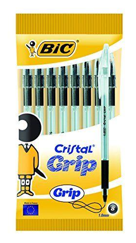 BIC Cristal Grip Medium Stylo à bille–Noir (Lot de 8) #Cristal #Grip #Medium #Stylo #bille–Noir #(Lot