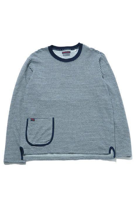 【BLUE BLUE】インディゴピンボーダークルーネックTシャツ