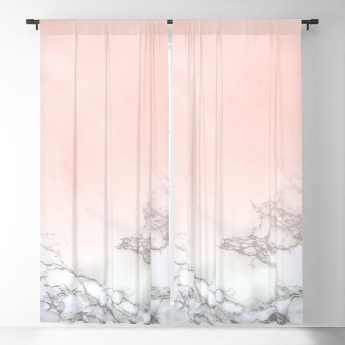 Buy Blush Pink On White And Gray Marble Iii Blackout Curtain By