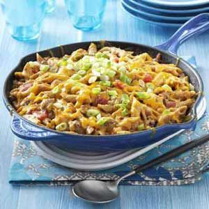 Family-Favorite Cheeseburger Pasta Recipe from Taste of Home -- shared by Raquel Haggard of Edmond, Oklahoma