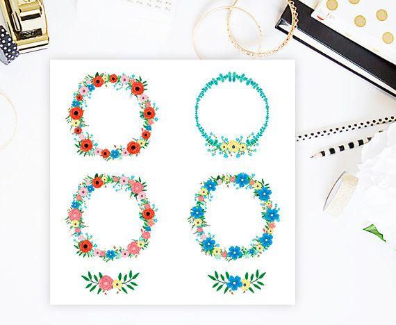 Floral Clip art Floral Wreaths Flower Clip Art by CutePaperStudio