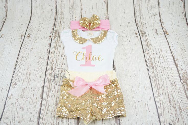première tenue d'anniversaire, 2ème tenue d'anniversaire, tenue d'anniversaire fille, tenue rose et or, tenue d'anniversaire princesse, fille top anniversaire, 1er par lePetitePosh sur Etsy https://www.etsy.com/fr/listing/278492094/premiere-tenue-danniversaire-2eme-tenue