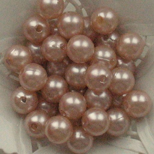 Beads Plastic Beige Brown 9mm Round 15 pcs pearl-shell