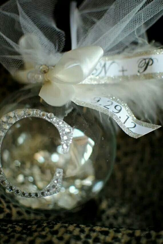Wedding Guests Gift. Ornaments With Initial Of Married Couple And Date Of  The Wedding On
