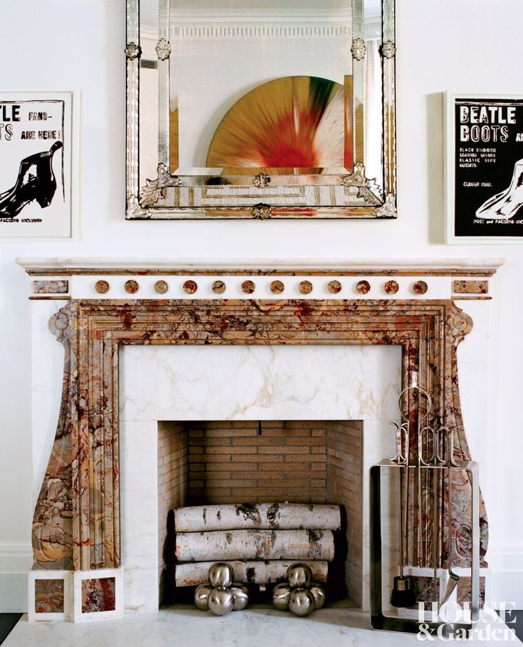 Art Deco Andirons And Mid Century Fireplace Utensils In The Living Room Of A Manhattan Duplex DESIGNER Kevin Roberts Timothy Haynes