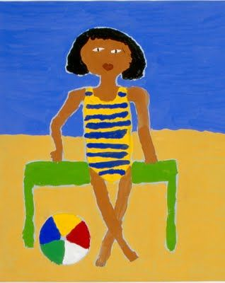 On The Beach. Age 10  self portraits in the style of William H. Johnson