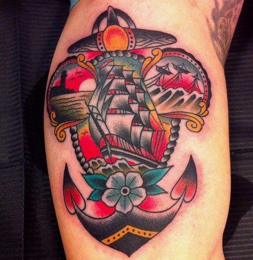 Anchor ship flower americana traditional tattoos i for Traditional americana tattoos