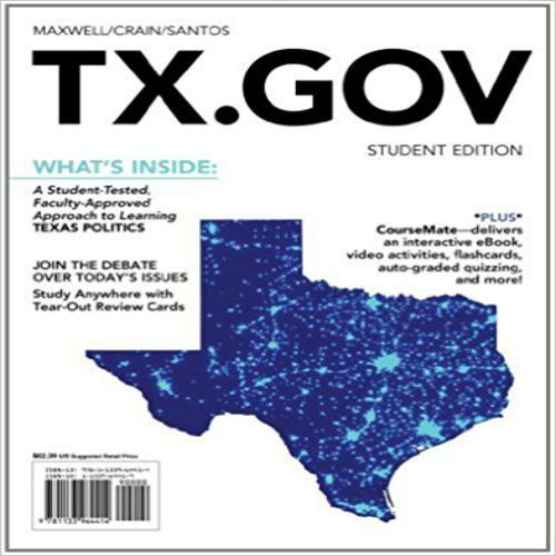 Test Bank for TX GOV 1st Edition by Maxwell and Crain