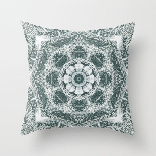 Winter snowy spruce forest mandala Throw Pillow by Crazy4patterns #winter #snow #mandala