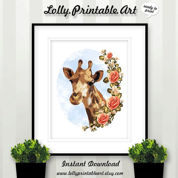 Unique Printable Art (Giraffe Floral Flowers) by LollyPrintableArt