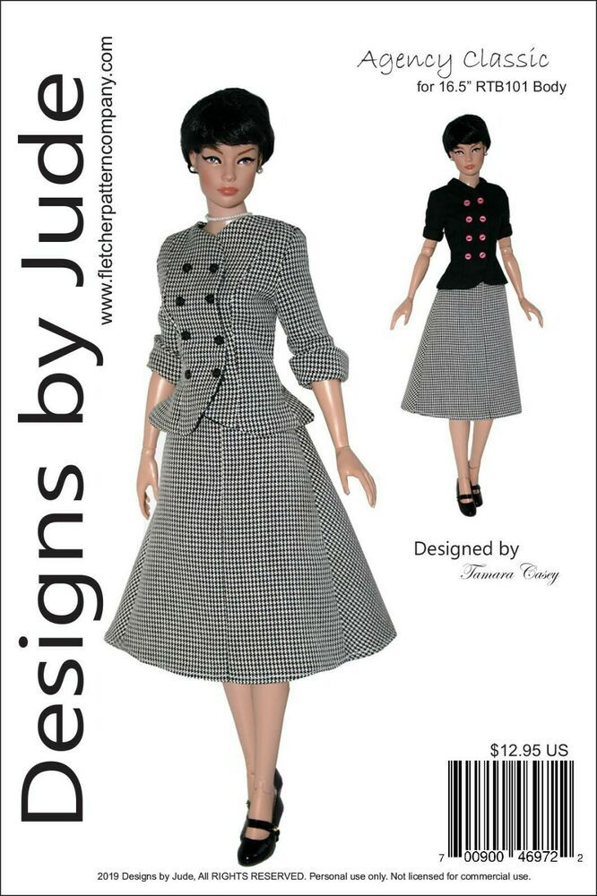 "Agency Classic Doll Clothes Sewing Pattern 16.5/"" RTB101 Body Rayne Claire Tonner"