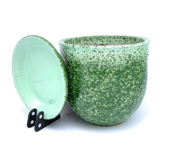 Glazed Ceramic Flower Pot With Saucer Green Mint Round Etsy Ceramic Flowers Ceramic Flower Pots Ceramic Plant Pots