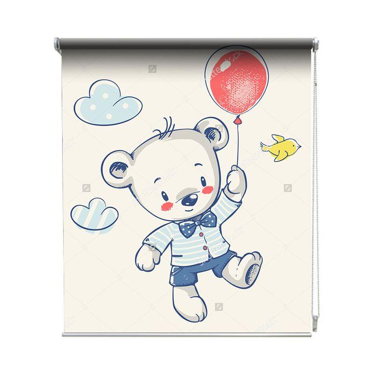 Rolgordijn Ballon beer | De rolgordijnen van YouPri zijn iets heel bijzonders! Maak keuze uit een verduisterend of een lichtdoorlatend rolgordijn. Inclusief ophangmechanisme voor wand of plafond! #rolgordijn #gordijn #lichtdoorlatend #verduisterend #goedkoop #voordelig #polyester #beer #ballon #beertje #cartoon #illustratie #lief #schattig #baby #babykamer