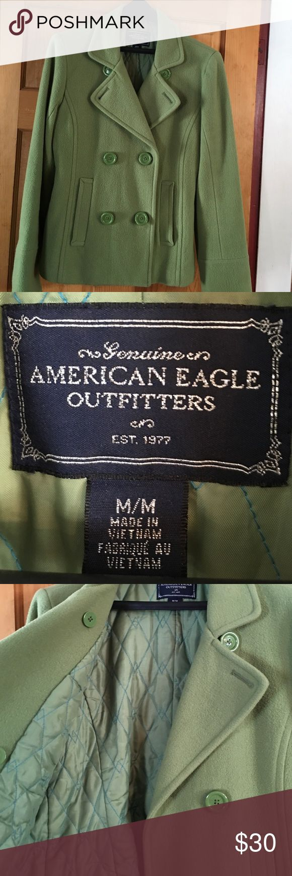 American eagle green winter coat Green Thick wool blend winter coat. Nice and warm American Eagle Outfitters Jackets & Coats Pea Coats